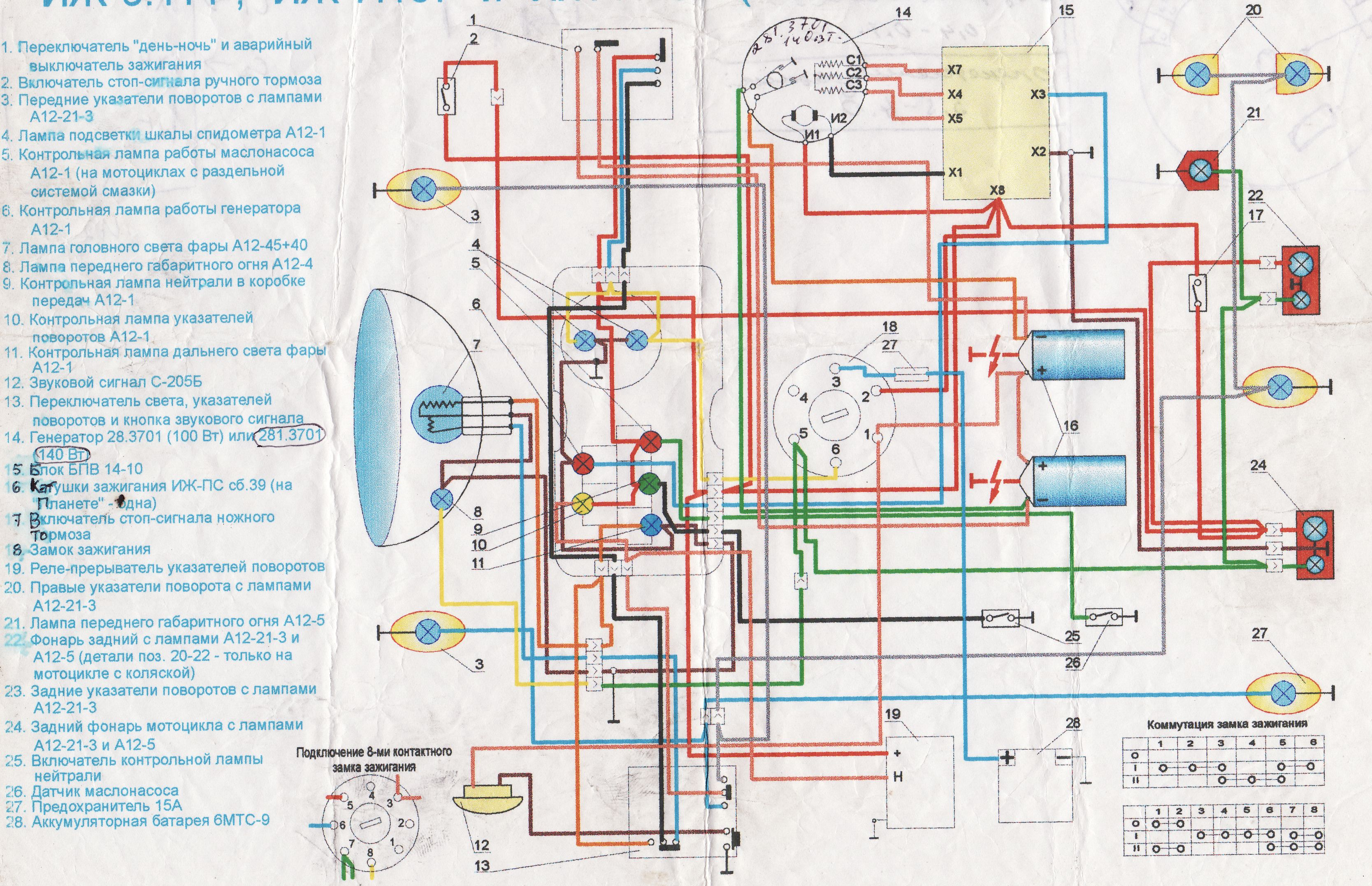 Схема проводки иж юпитер 5 с описанием